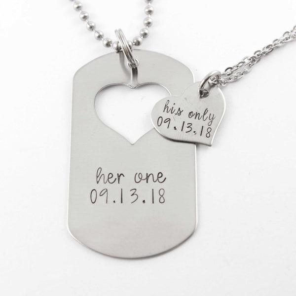 """Her One"" & ""His Only"" dog tag with heart cut out & Heart set - Completely Hammered"