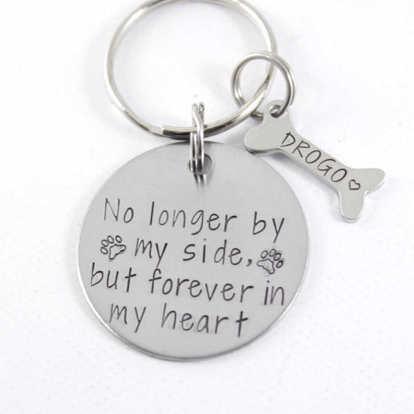 """No longer by my side, but forever in my heart"" Stainless Steel keychain - Pet Memorial Keychain - Keychains - Completely Hammered - Completely Wired"