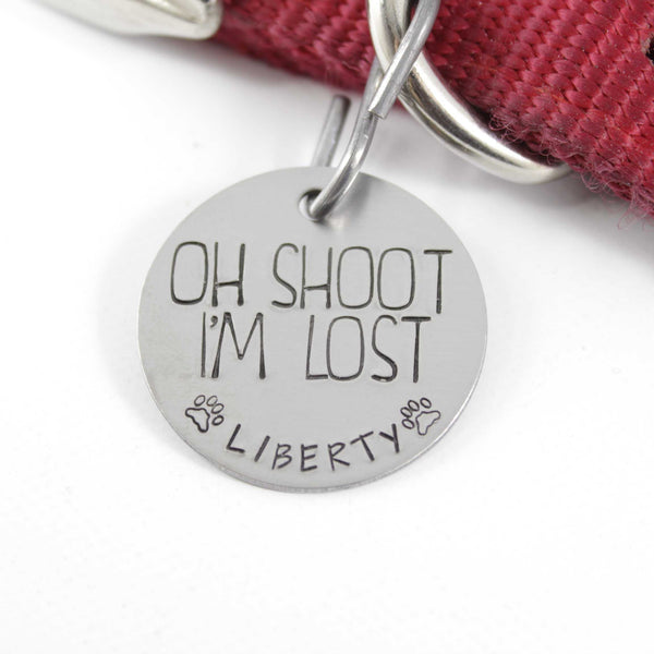 "1.25 Inch ""Oh shoot, I'm Lost"" Pet ID Tag - PET ID TAGS - Completely Hammered - Completely Wired"