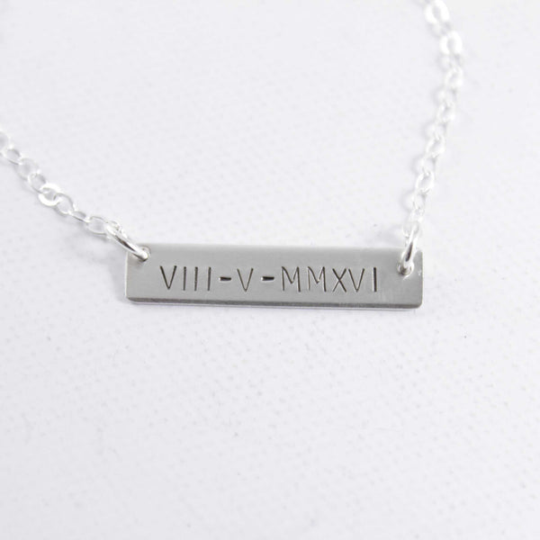Roman Numeral Necklace - Sterling Silver or Gold Filled - Necklaces - Completely Hammered - Completely Wired
