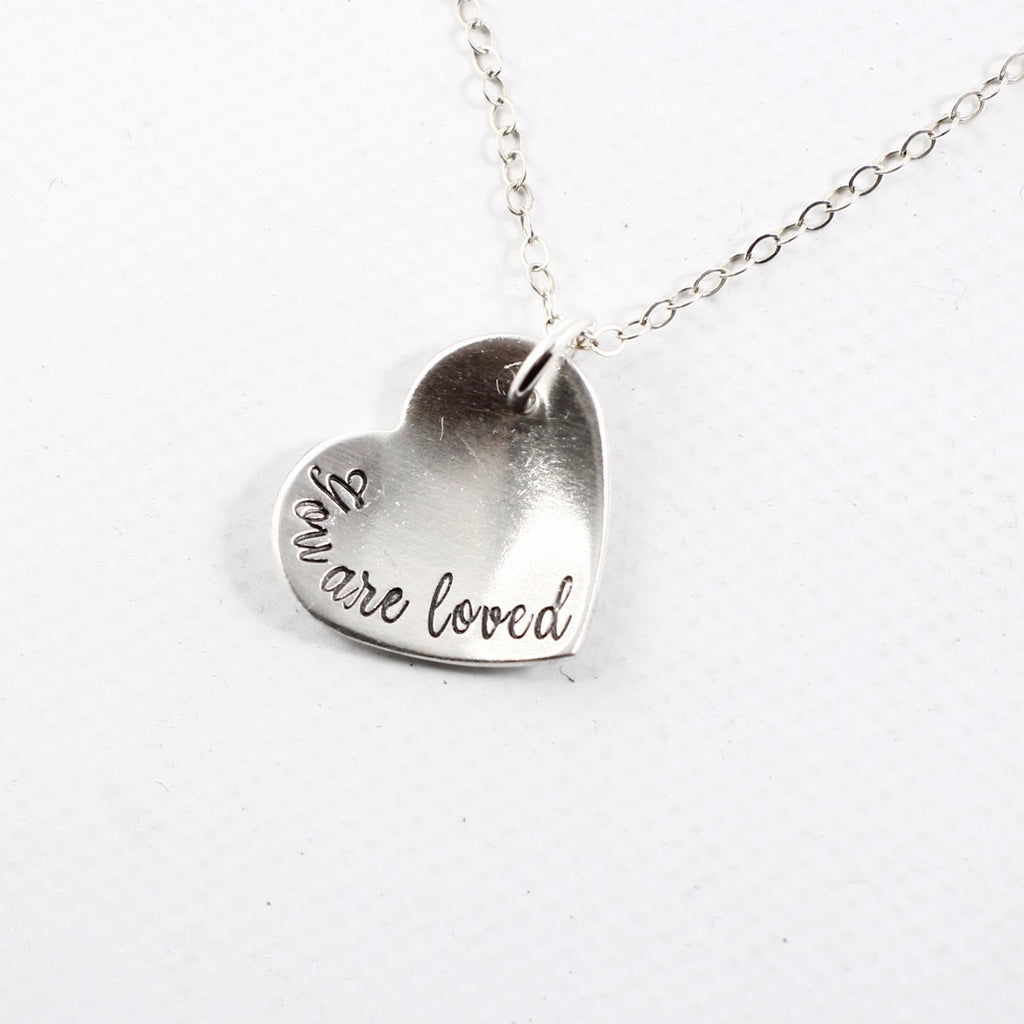 """You are loved"" Sterling Silver Heart Charm Necklace - Necklaces - Completely Hammered - Completely Wired"