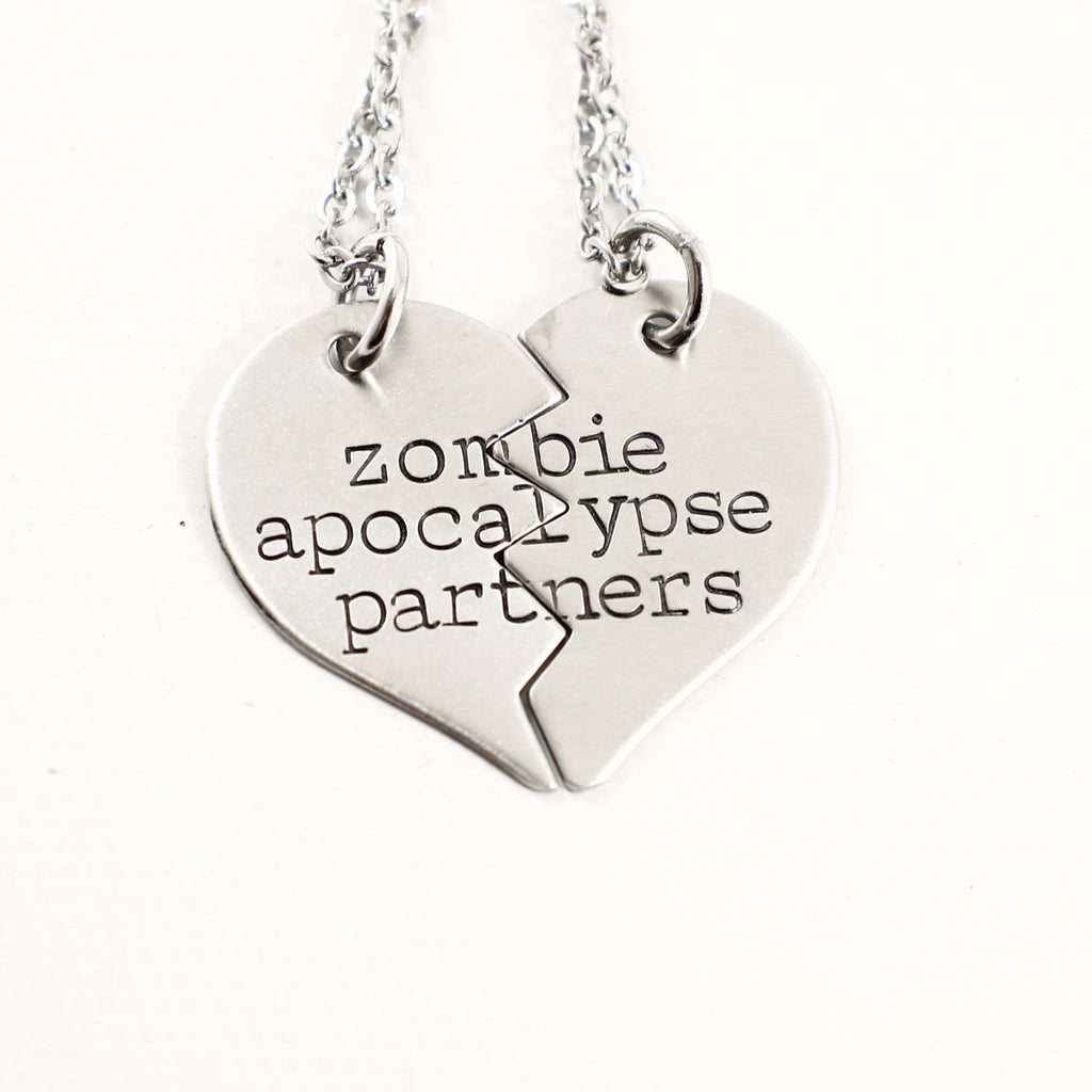 """Zombie Apocalypse Partners"" Necklace or Keychain Set #TW - Couples Sets - Completely Hammered - Completely Wired"