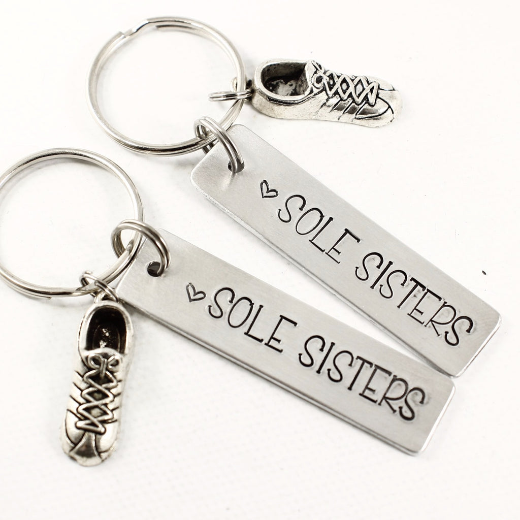 """Sole Sisters"" - Running Buddy Keychain Set - #HE - Keychains - Completely Hammered - Completely Wired"