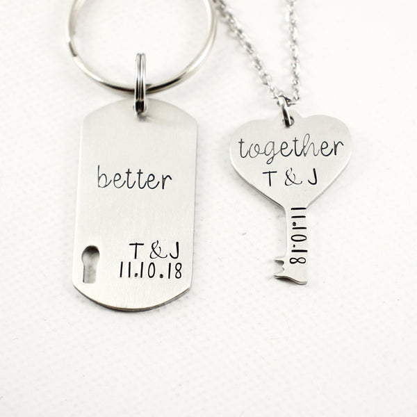 """Better Together"" - Stainless Steel Lock and Key Couples Set - Couples Sets - Completely Hammered - Completely Wired"