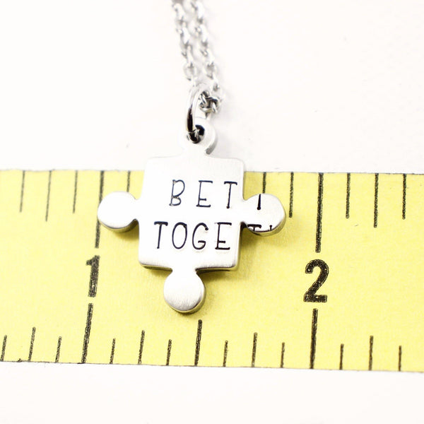 """Better Together"" - Stainless Steel Puzzle Piece Couples Set - Keychains - Completely Hammered - Completely Wired"