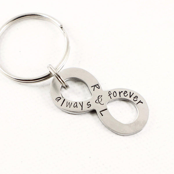 """Always and Forever"" Infinity Keychain, personalized with your initials - Keychains - Completely Hammered - Completely Wired"