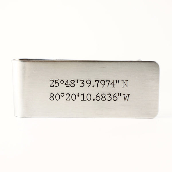 Custom GPS COORDINATES Money Clip - Money Clips - Completely Hammered - Completely Wired