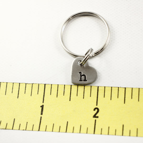 Custom Hand Stamped Initial Keychain - Small Heart - Completely Hammered