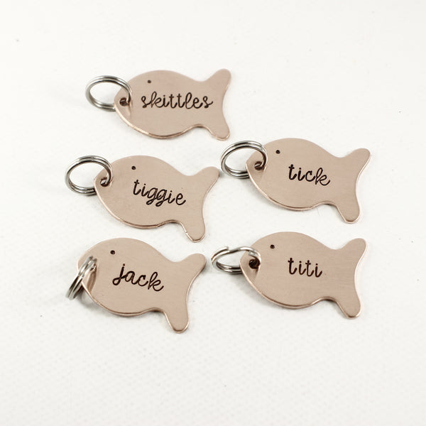 Small fish with name, date or initials Charm Add-On - Add Ons - Completely Hammered - Completely Wired