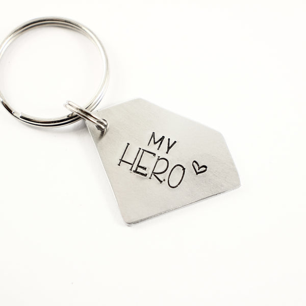 """My Hero"" - Hand Stamped Superhero Keychain - Keychains - Completely Hammered - Completely Wired"
