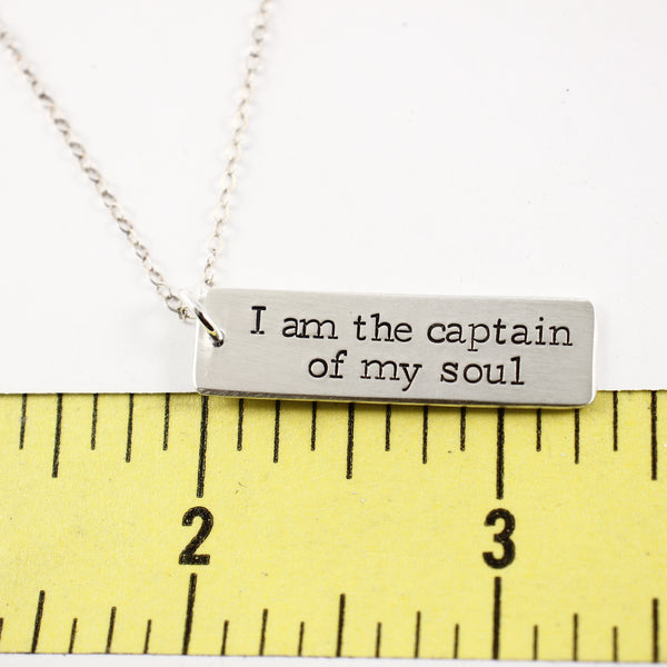 """I am the captain of my soul"" - Rose Gold Filled, Gold Filled or Sterling Silver Necklace - Necklaces - Completely Hammered - Completely Wired"