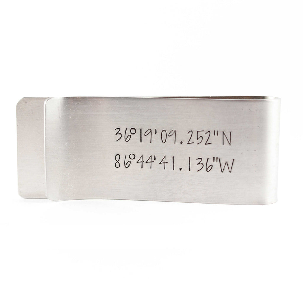 Custom GPS COORDINATES Money Clip