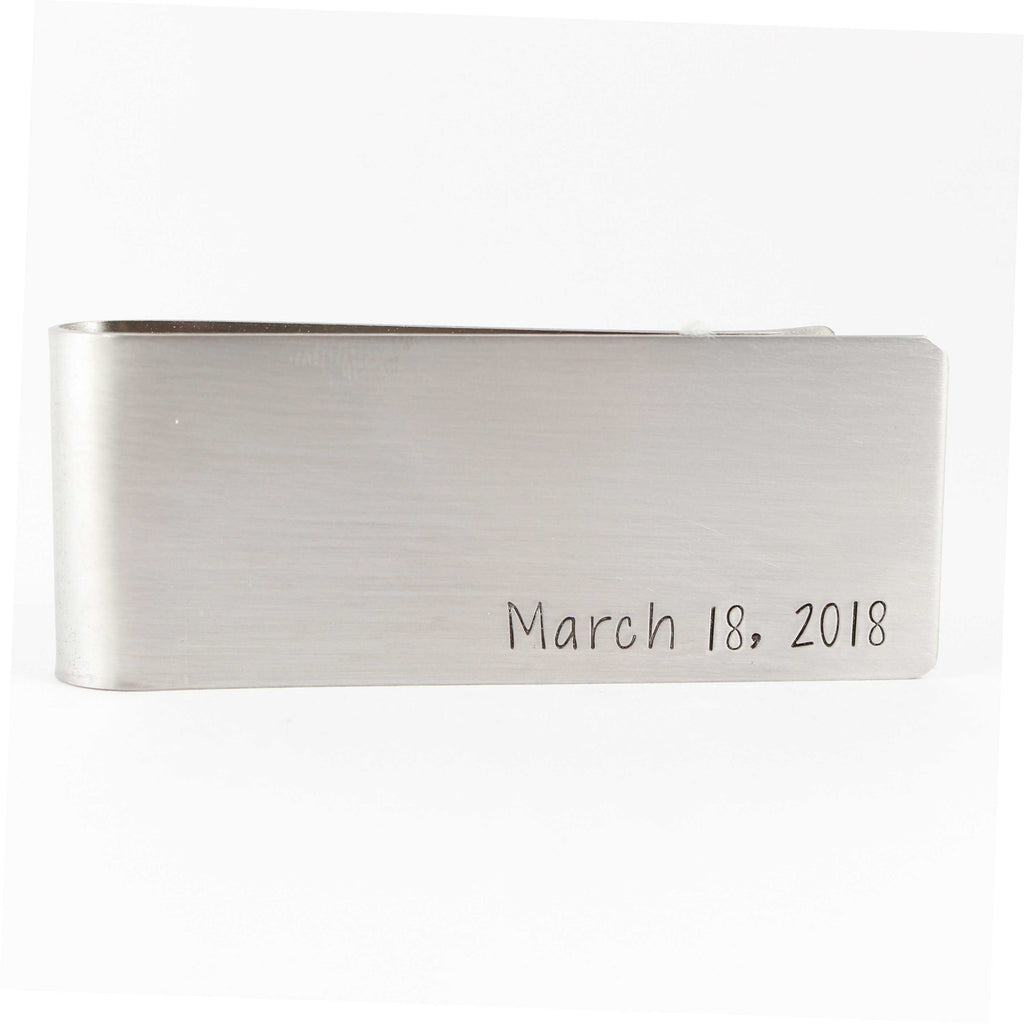 YOUR CHOICE of text - Custom, Hand Stamped Money Clip - Money Clips - Completely Hammered - Completely Wired