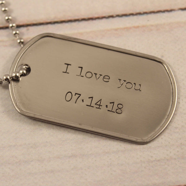 Personalized, Dog Tag Necklace / keychain - Completely Hammered