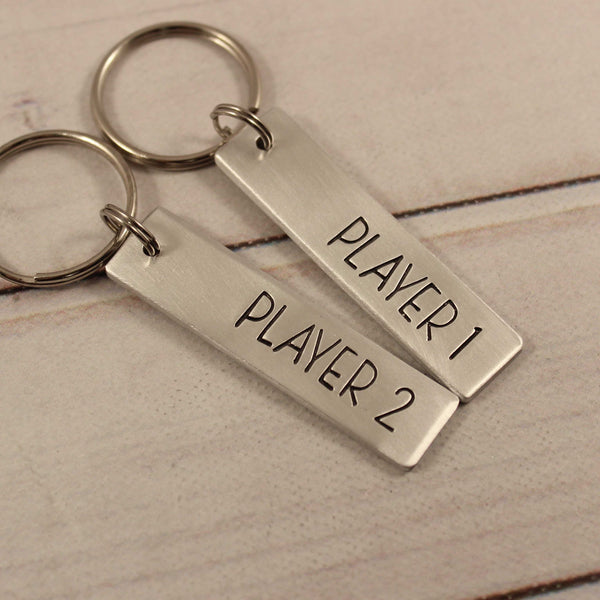 """Player 1"" & ""Player 2"" Keychain Set - Keychains - Completely Hammered - Completely Wired"