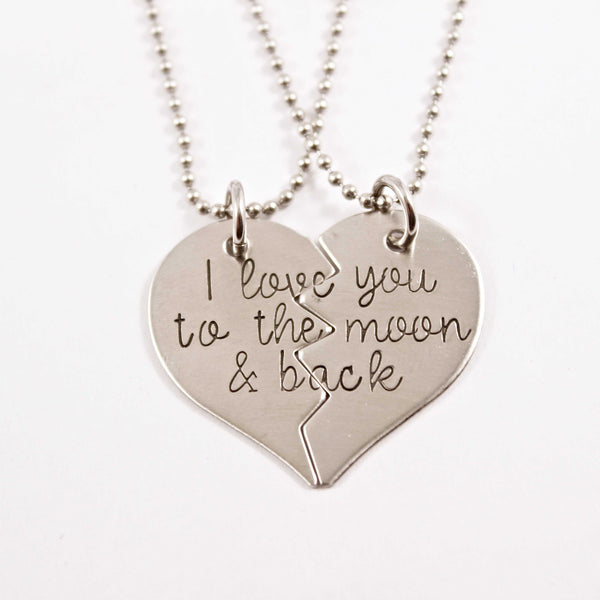 """I love you to the moon and back"" - Stainless Steel broken heart set - Keychains - Completely Hammered - Completely Wired"