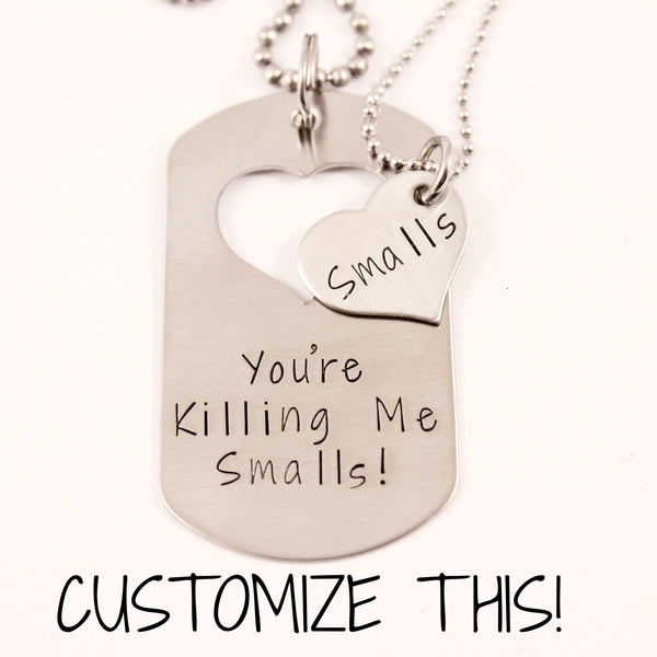 CUSTOM TEXT - Dog Tag with heart cut out & Heart set - Couples Sets - Completely Hammered - Completely Wired