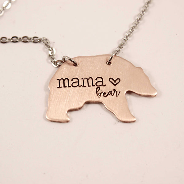 """Mama Bear"" Necklace - Copper or Aluminum - Necklaces - Completely Hammered - Completely Wired"
