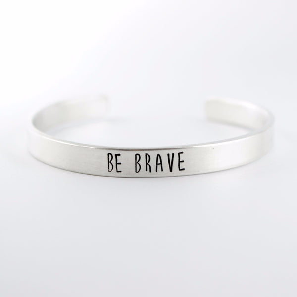 """Be Brave"" Bracelet - Your choice of pure aluminum, copper, brass or sterling silver - Cuff Bracelets - Completely Hammered - Completely Wired"