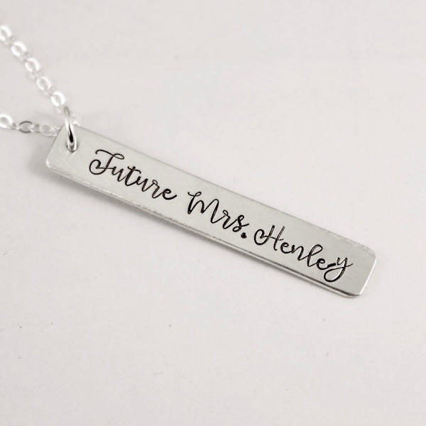 """Future Mrs."" Necklace - Sterling Silver, Rose Gold Filled or Gold Filled - Necklaces - Completely Hammered - Completely Wired"