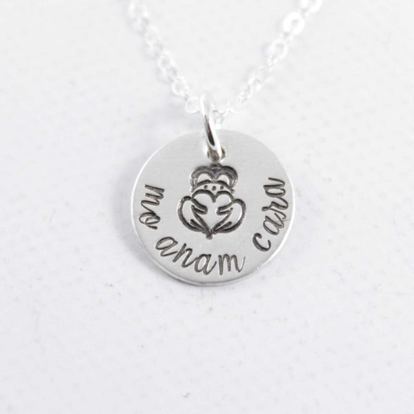 """Mo Anam Cara"" - Irish / Gaelic Hand stamped Sterling Silver or Gold Filled Necklace - Necklaces - Completely Hammered - Completely Wired"
