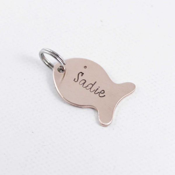 Copper fish with name, date or initials Charm Add-On