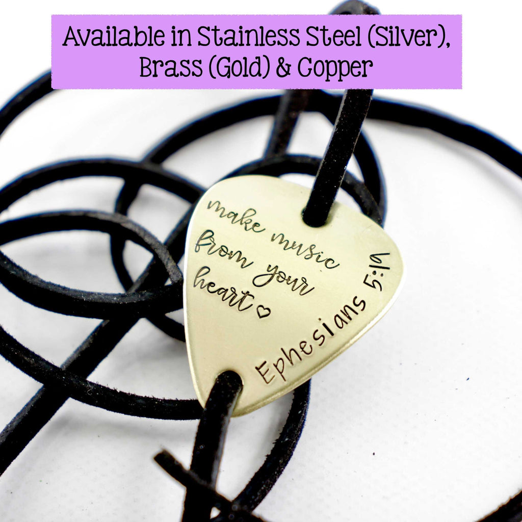 """Make music from your heart"" Guitar Pick leather wrap bracelet - Bracelet - Completely Hammered - Completely Wired"