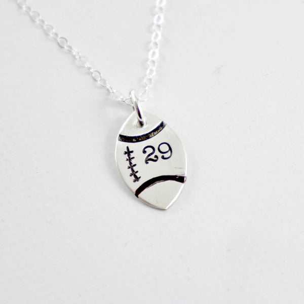 Football with Numbers Sterling Silver Charm Necklace