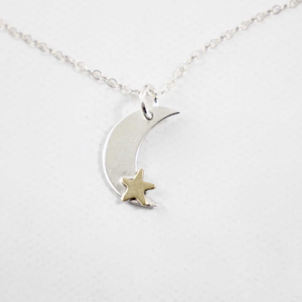 Sterling Silver Moon Charm with Brass Star Necklace - Necklaces - Completely Hammered - Completely Wired