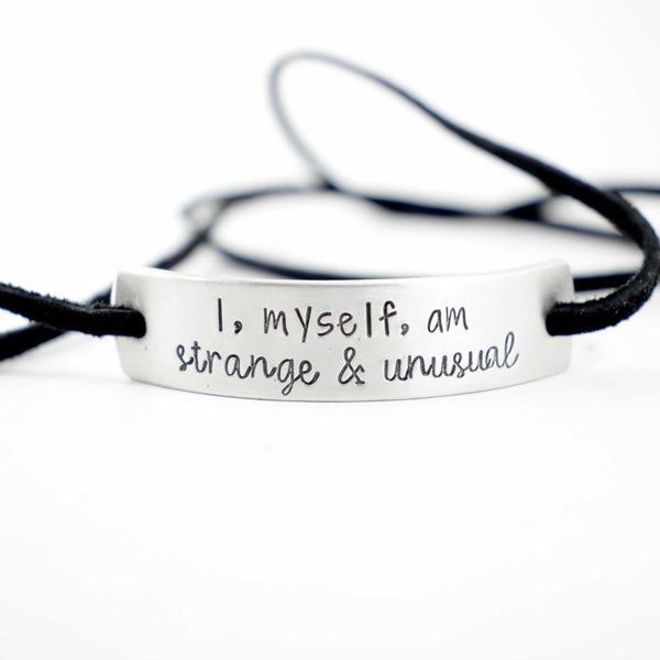 Custom Hand Stamped Aluminum and Suede Leather Wrap Bracelet - Bracelet - Completely Hammered - Completely Wired