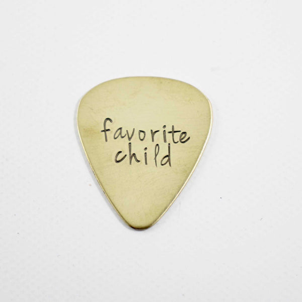 """favorite child"" Hand stamped Guitar Pick - READY TO SHIP - Guitar Pick - Completely Hammered - Completely Wired"