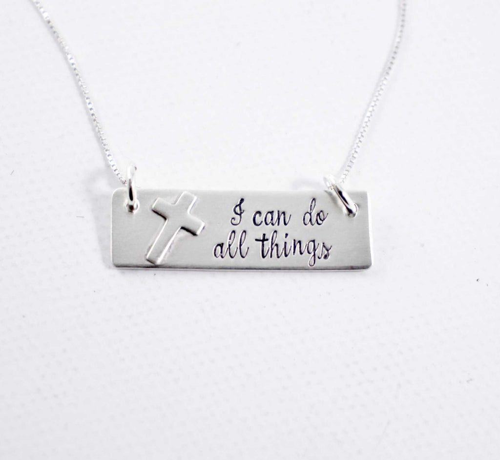"""I can do all things"" Sterling Silver Necklace - Philippians 4:13 - Necklaces - Completely Hammered - Completely Wired"