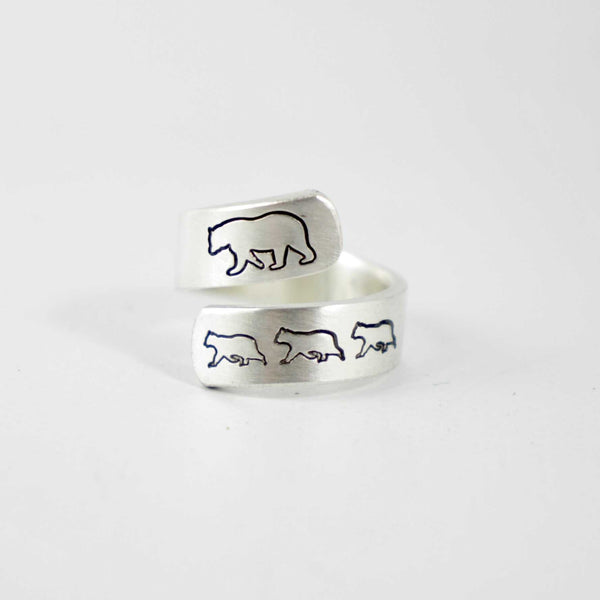 Mama Bear Wrap Ring - Ring - Completely Hammered - Completely Wired