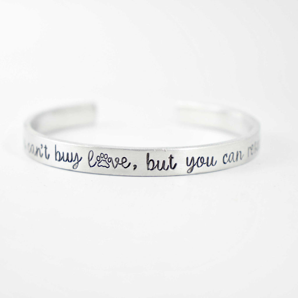 """You can't buy love, but you can rescue it"" Cuff Bracelet - Cuff Bracelets - Completely Hammered - Completely Wired"