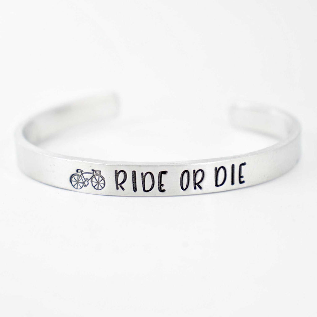 """Ride or Die"" Bicyclist Bracelet - Your choice of pure aluminum, copper, brass or sterling silver - Cuff Bracelets - Completely Hammered - Completely Wired"