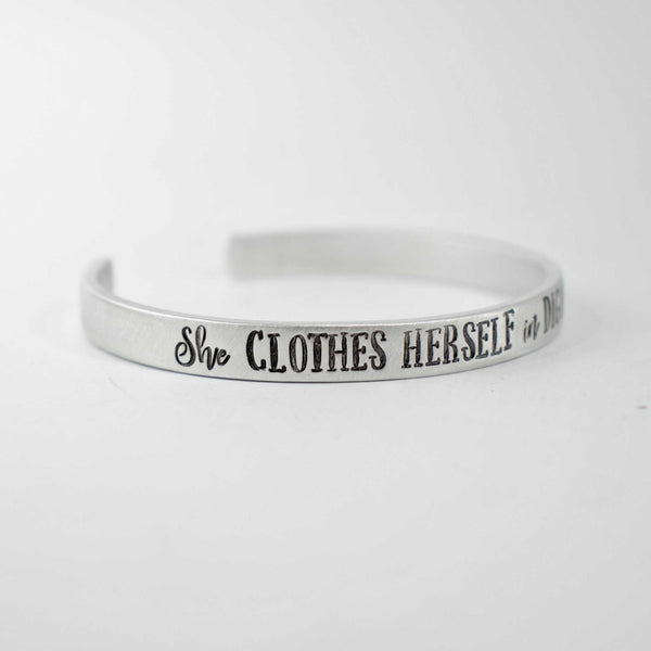"""She Clothes Herself in Dignity..."" Cuff Bracelet - Available in Aluminum, Copper, Brass or Sterling - Cuff Bracelets - Completely Hammered - Completely Wired"