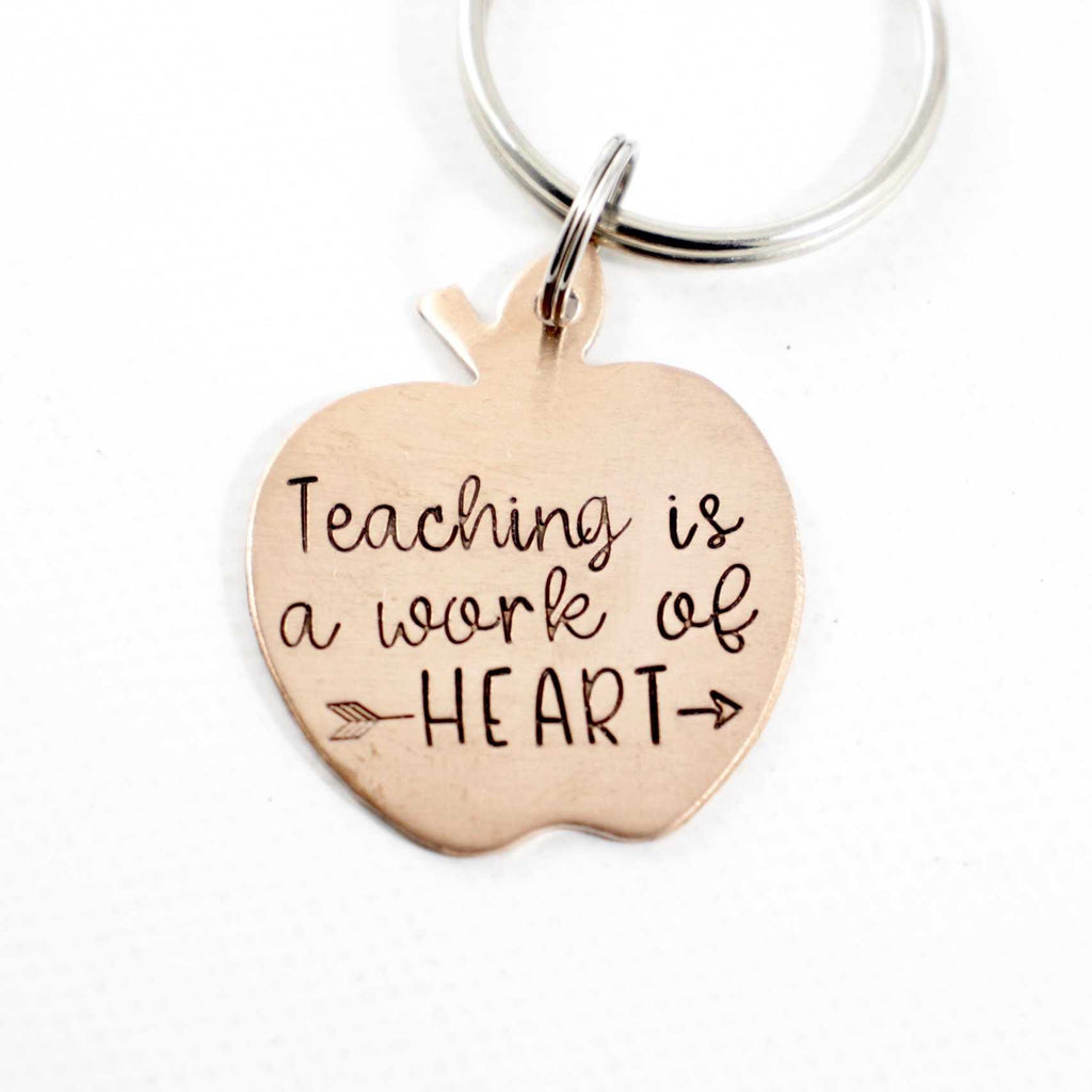 """Teaching is a work of heart"" Keychain - READY TO SHIP - Keychains - Completely Hammered - Completely Wired"