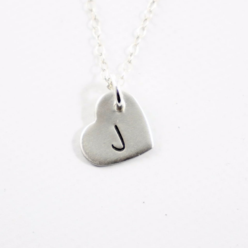 Initial Heart Charm - Sterling Silver Charm / Necklace - Necklaces - Completely Hammered - Completely Wired