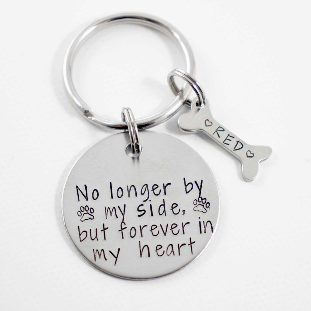 """No longer by my side, but forever in my heart"" Stainless Steel keychain - Pet Memorial Keychain"