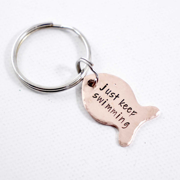 """Just keep swimming"" Copper Fish Keychain"