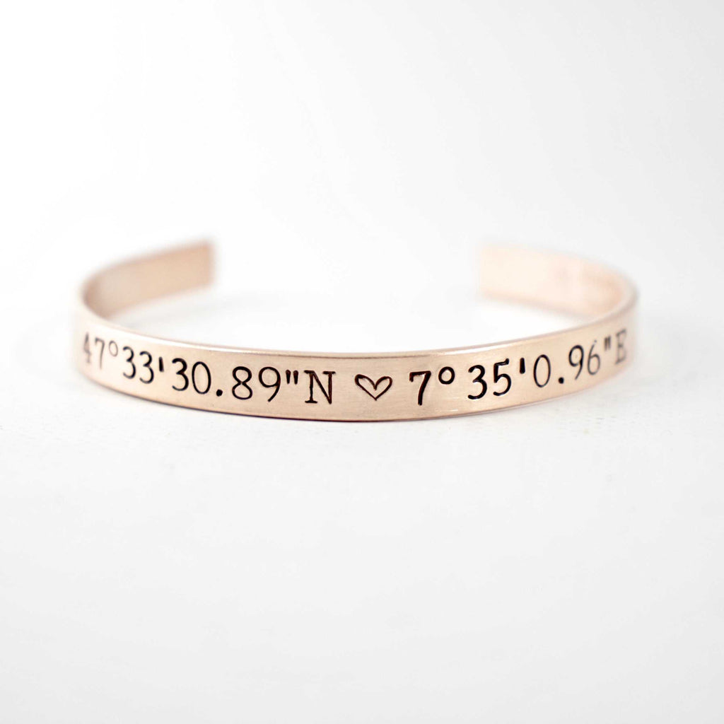 "Custom Stamped, 1/4"" Wide Copper Cuff Bracelet with your choice of text. - Cuff Bracelets - Completely Hammered - Completely Wired"