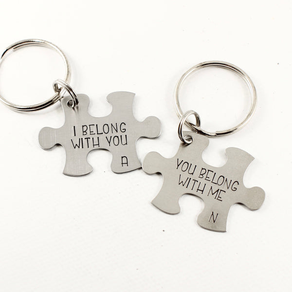 """I belong with you You belong with me"" Interlocking Puzzle piece keychain set (2 pieces) - Keychains - Completely Hammered - Completely Wired"