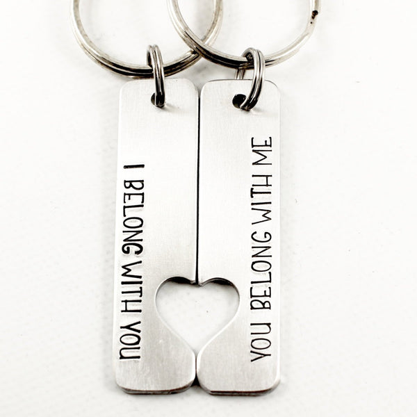 """I belong with you, You belong with me"" - Couples Keychain Set - Keychains - Completely Hammered - Completely Wired"