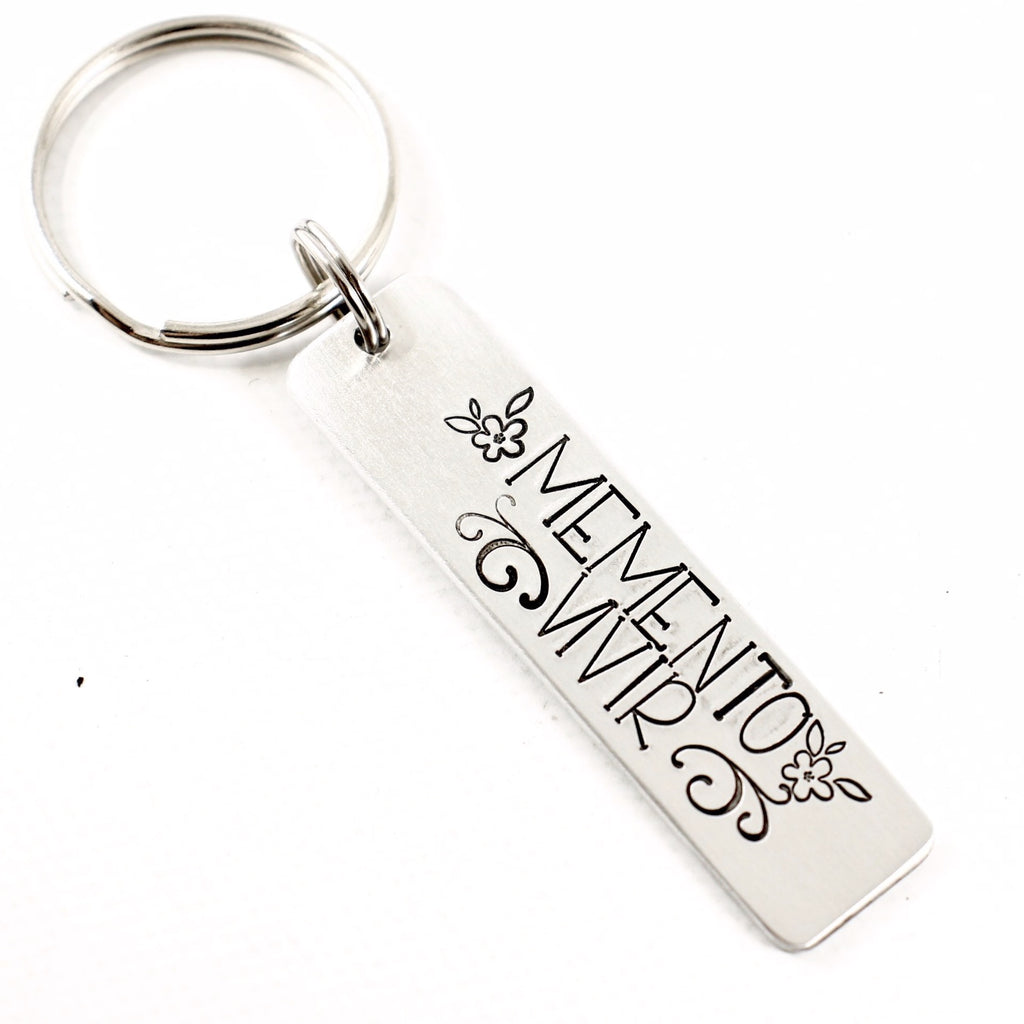 """Memento Vivir"" (Remember to live)  - Hand Stamped Keychain - Keychains - Completely Hammered - Completely Wired"