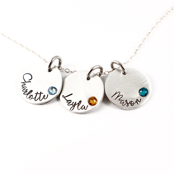 Name charm necklace / Mother necklace - your choice of 1-5 disks with birthstone crystal - Necklaces - Completely Hammered - Completely Wired