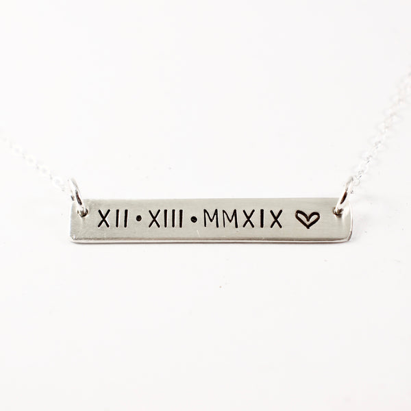 Roman Numeral Necklace - Sterling Silver - Completely Hammered