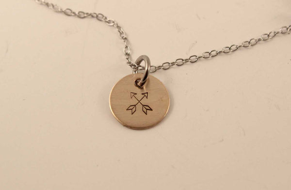 Crossed Arrows Charm Necklace - Necklaces - Completely Hammered - Completely Wired