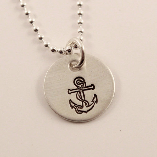 Anchor Charm Necklace - Completely Hammered