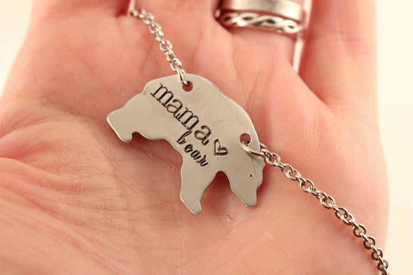 Mama Bear Necklace -  - Completely Hammered - Completely Wired