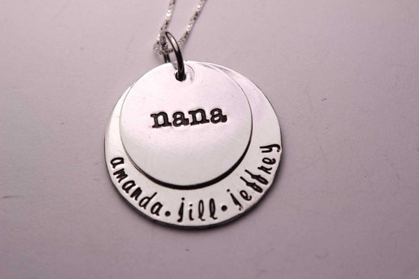 Layered Nana / Grandma / Mom sterling silver necklace with names - Completely Hammered